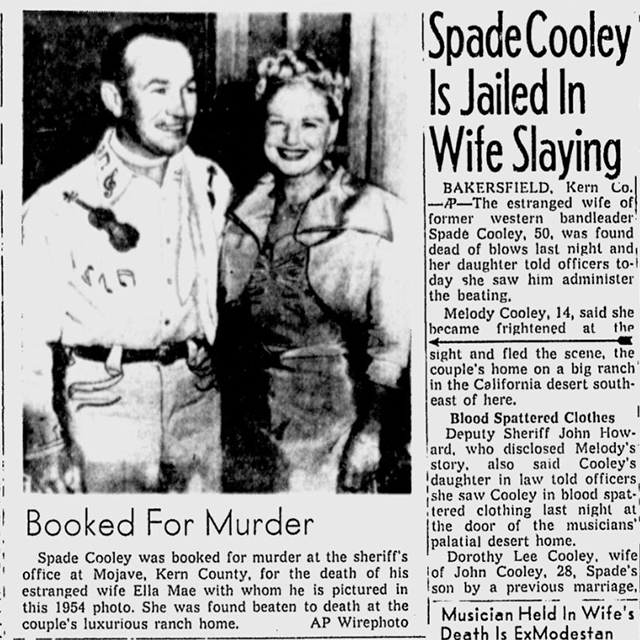 Spade Cooley murder newspaper clipping