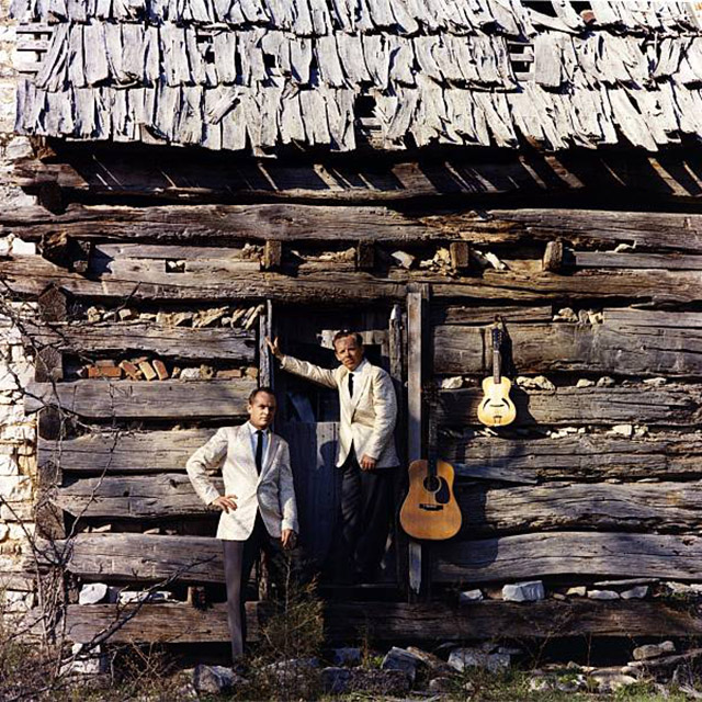 Louvin Brothers outside cabin
