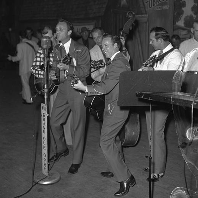 Louvin Brothers on Grand Ole Opry black and white