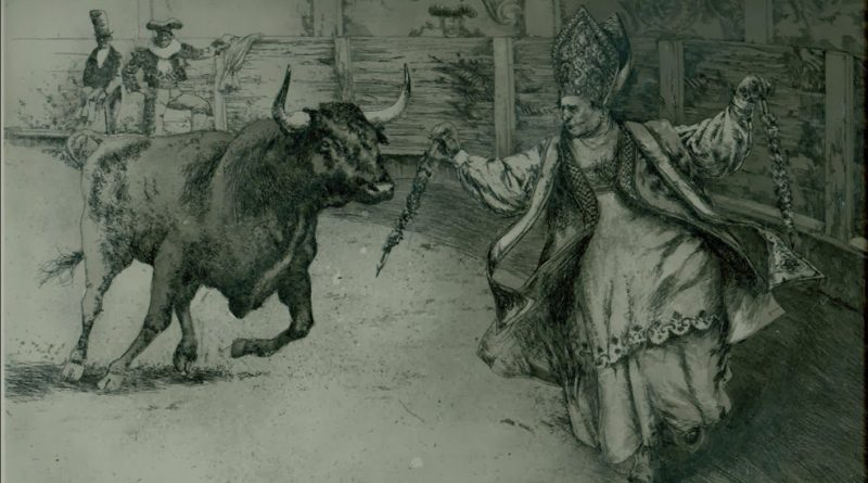 The pope running from a bull