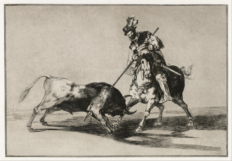 Lancing a bull from horseback