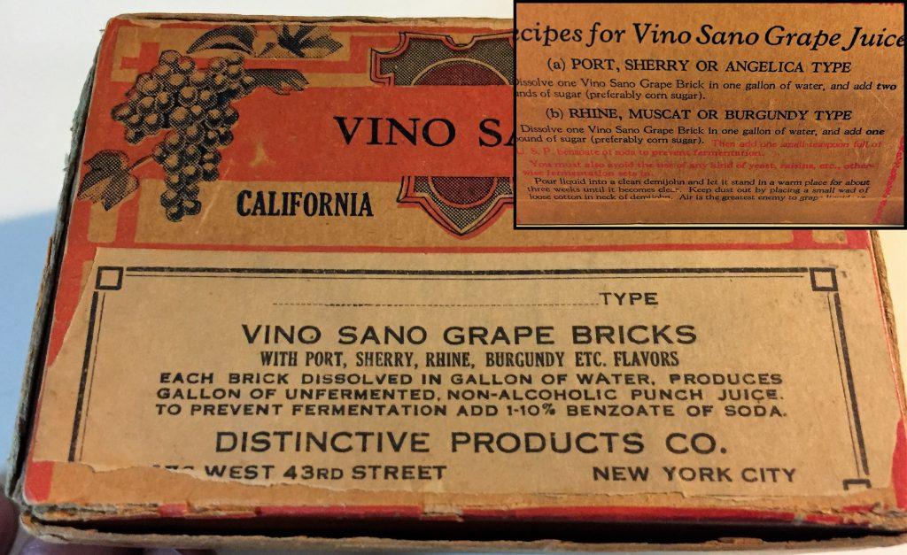Prohibition grape juice brick for wine