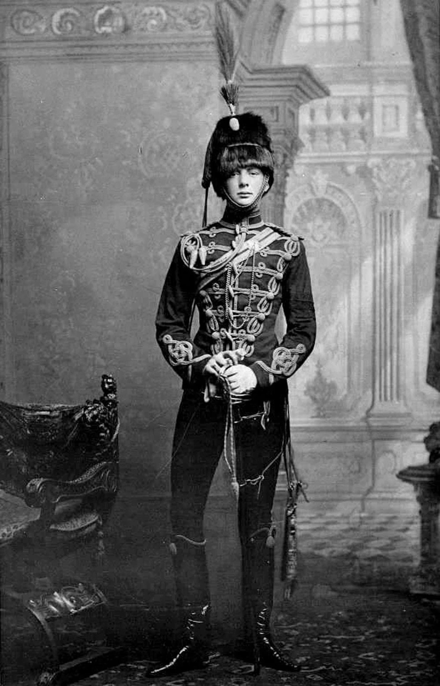 Winston Churchill wearing hessian boots