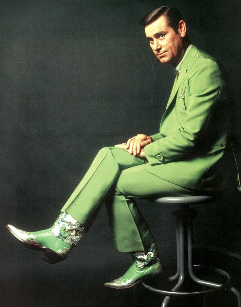 George Jones in a green suit