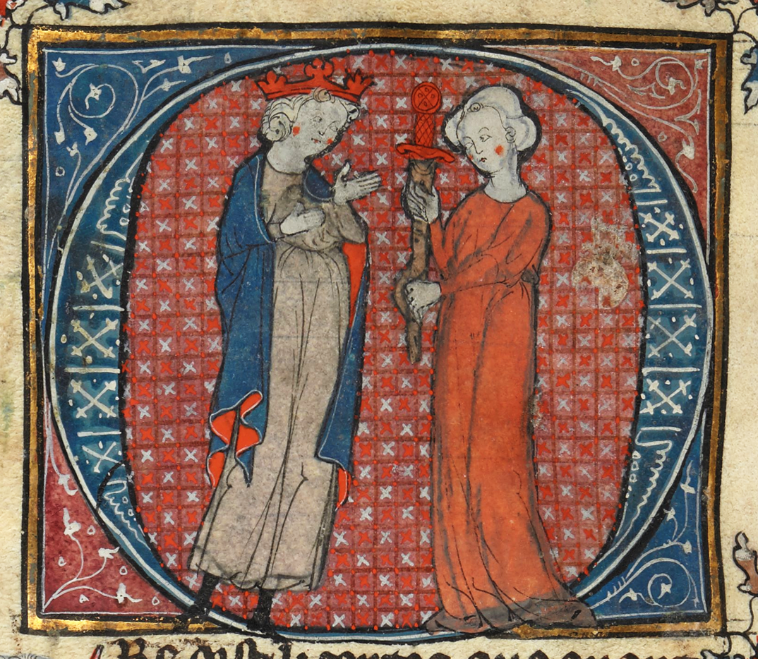 Arthur being handed his sword by a woman