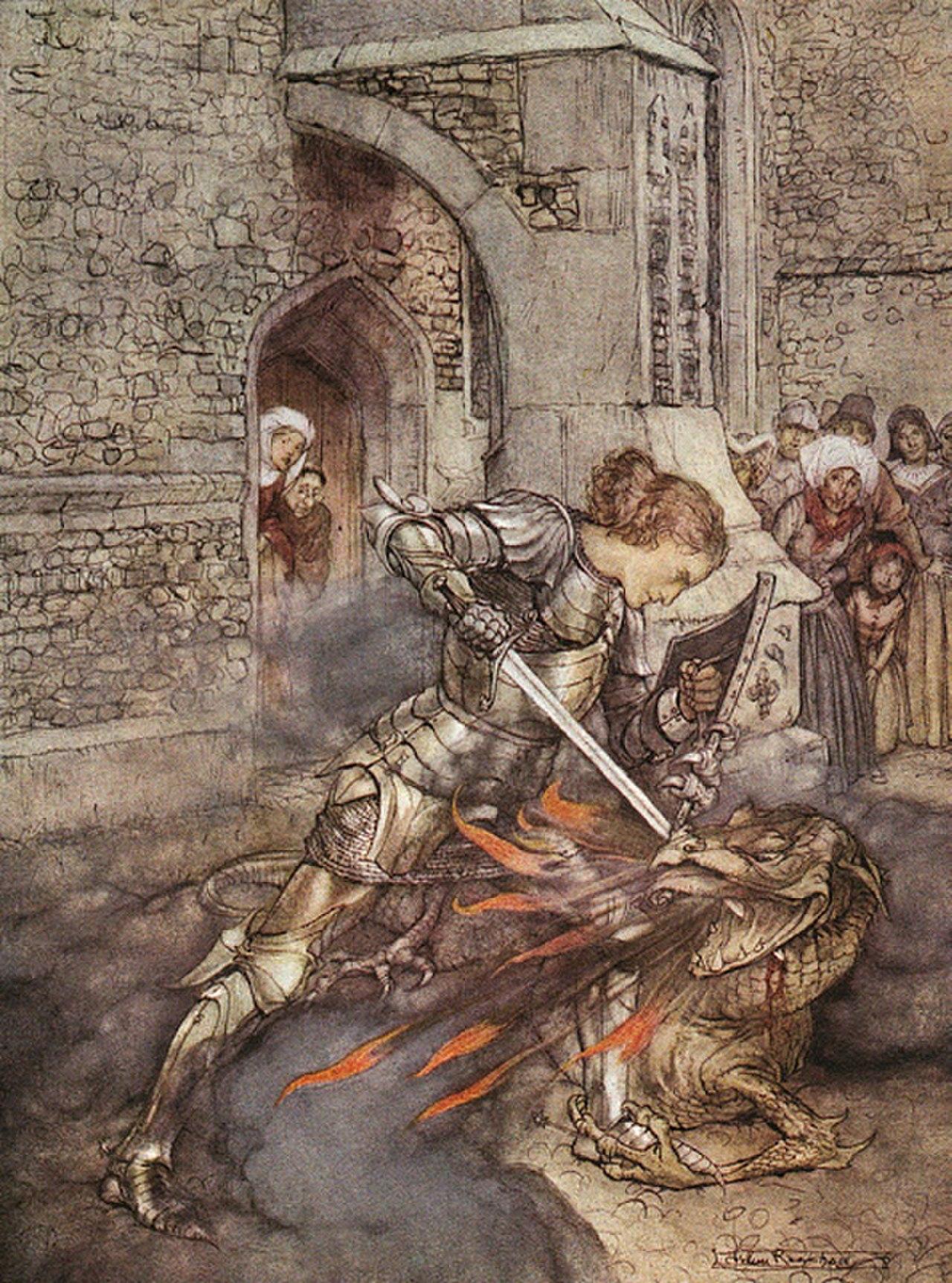 Lancelot slaying a dragon