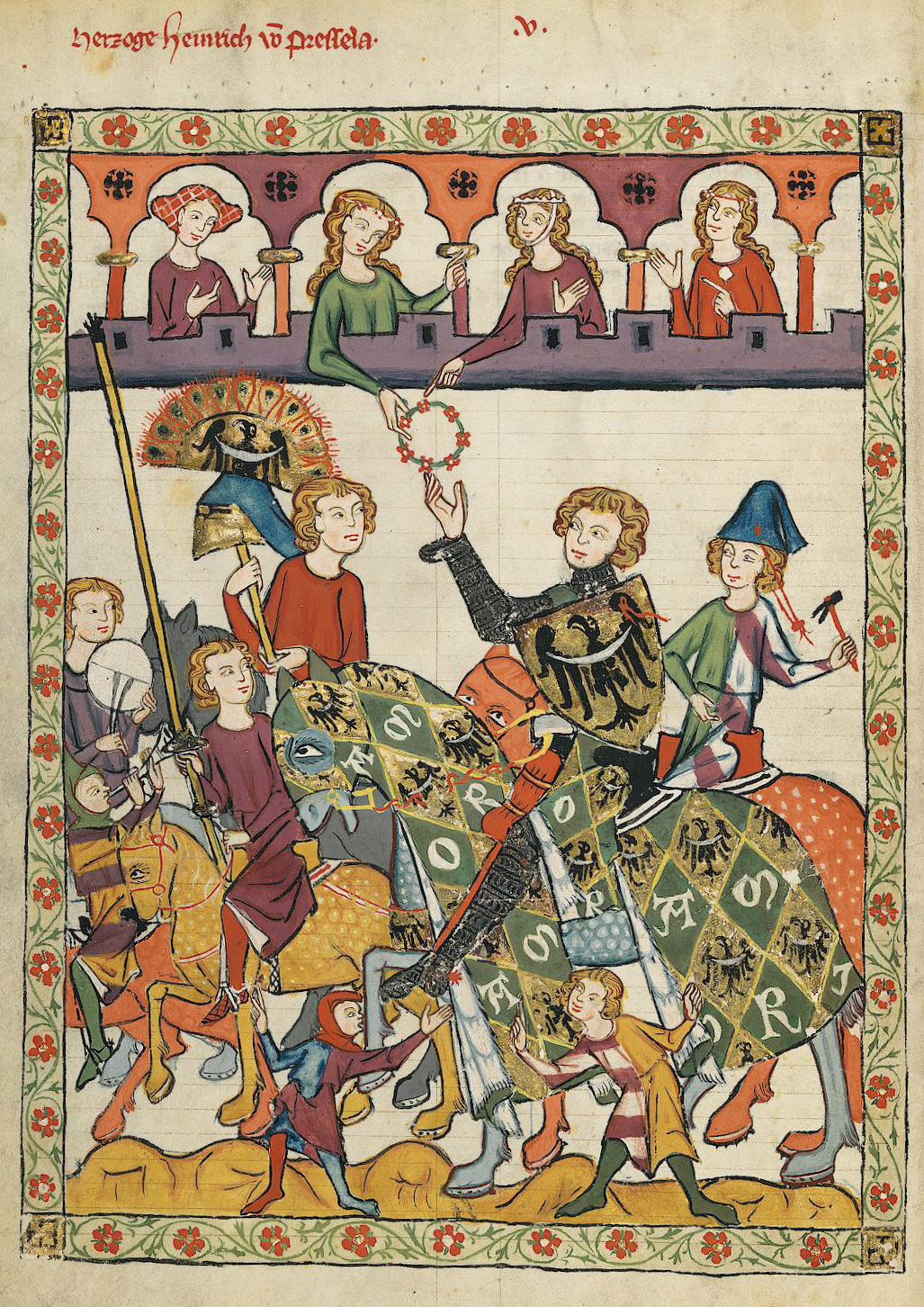 a knight receiving a lady's favor