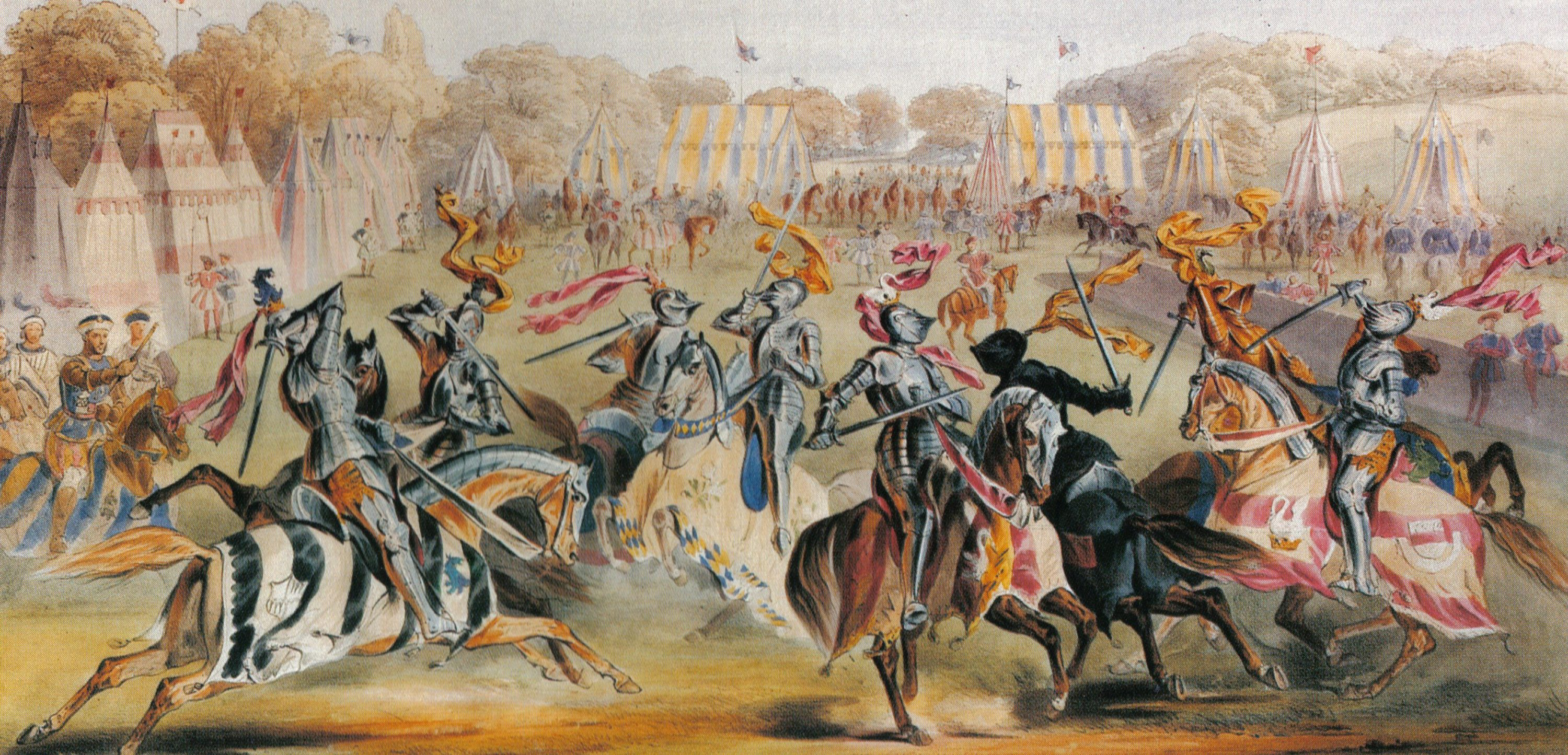 knights fighting in a medieval tournament