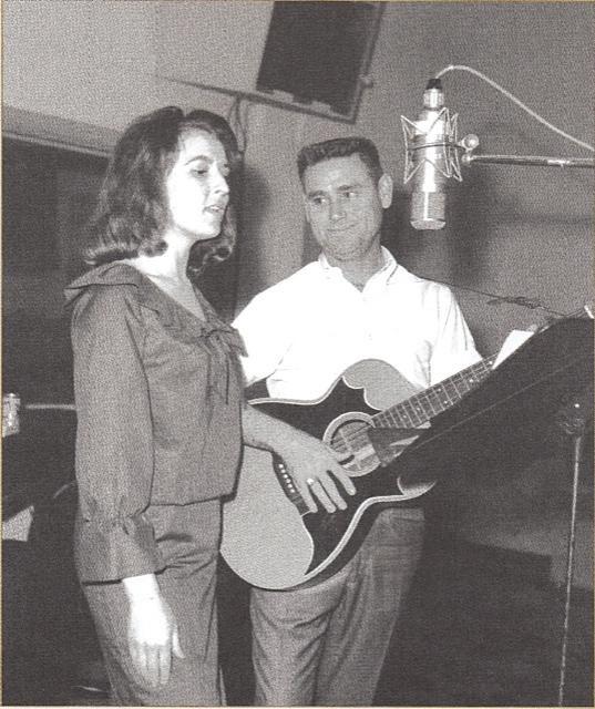 Melba Montgomery and George Jones in the studio