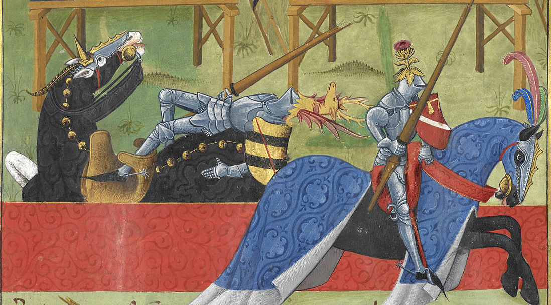 medieval joust with a tilt wall