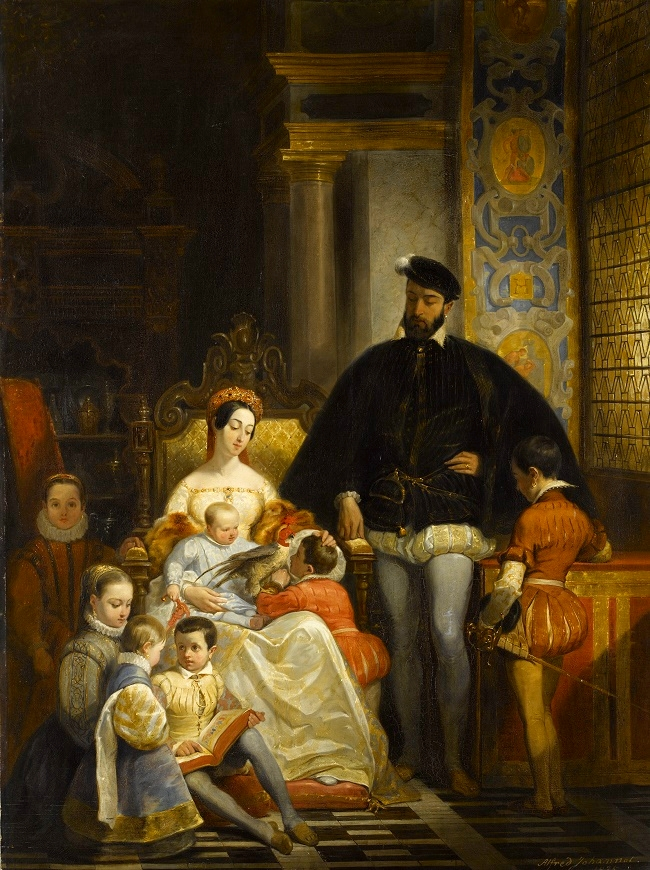 Catherine de Medici and Henri II with their children